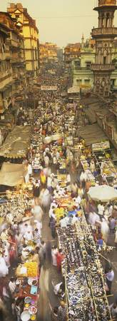 High angle view of crowd at a street market