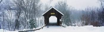 New England covered bridge in winter