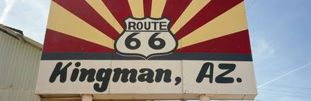 Low angle view of a road sign Route 66 Kingman Mo