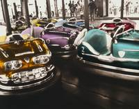 Bumper cars in an amusement park