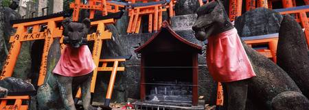 Fox statues at a shrine