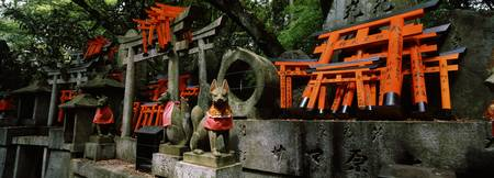 Fox statues with Torii gates at a shrine