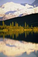 Snow-covered Mount McKinley reflected in Wonder L