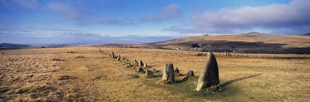 Neolithic Stone Rows on a landscape Merrivale Dar