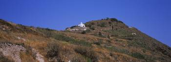 Low angle view of a chapel on a hill