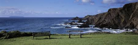 Empty bench on the coast Hartland Quay Bideford N