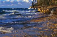 Waves along Lake Michigan shoreline