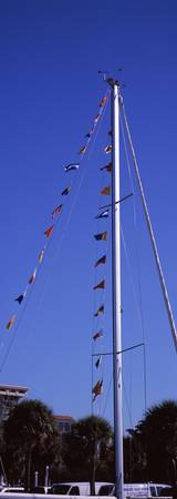 The mast of a sailboat