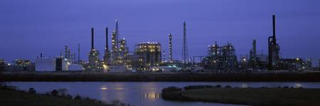 Oil refinery at dusk Texas