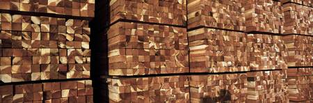 Redwood lumber stacks in a lumberyard