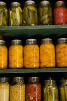 Close-up of pickle jars