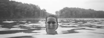 Portrait of a womans face in water