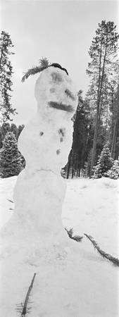 Close-up of a snowman