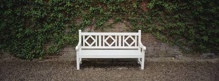 Empty bench in a formal garden