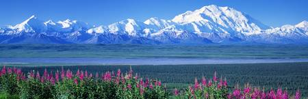 Mountains and Lake Denali National Park AK