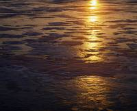 Sunset light reflected on ice patterns
