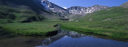 Mountains surrounding a stream