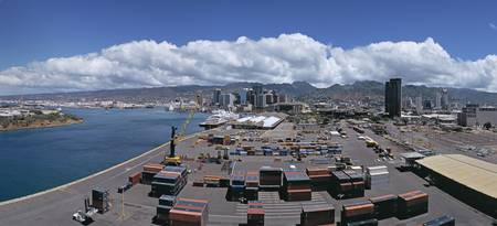 Cargo containers at a harbor Honolulu Oahu Hawaii