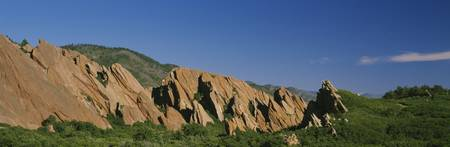 Rock formations on a hillside