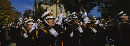 Men playing trumpet in the parade