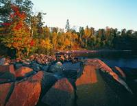 Sunset light on rocky Lake Superior shoreline