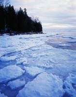 Icy Lake Michigan shoreline