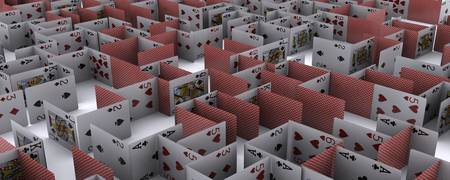 Maze made up from playing cards