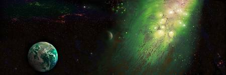 Earth in Space with Nebula (Photo Illustration)