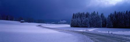 Moody Winter Scene with Road near Wieskirche Germ
