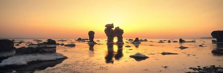 Silhouette of rocks on the beach