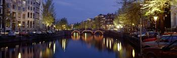 Night View Along Canal Amsterdam The Netherlands