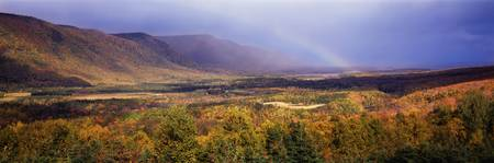 Rainbow over Cape Breton Highlands near Cape Nort