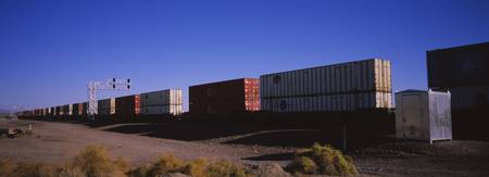 Cargo containers on a freight train