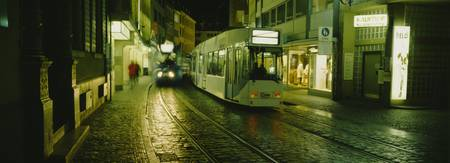 Cable Cars Moving On A Street