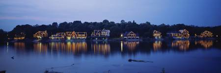 Boathouse Row lit up at dusk