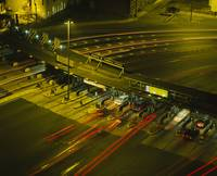 High angle view of traffic at a toll booth