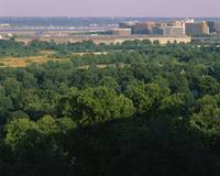 High angle view of trees around a government buil