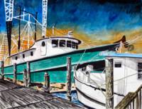 shrimp boat painting art print