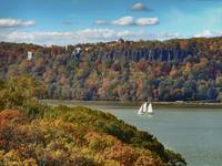 Autumn Hudson River Palisades with a Sailing Vesse