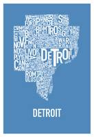 Detroit Typography Map blue