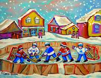 RINK HOCKEY IN THE VILLAGE WITH FALLING SNOW