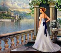Lady overlooking lake Como Italy