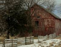 Old Red Barn in Winter