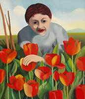 My mother among the tulips