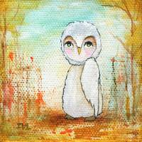 Autumn Joy, Whimsical White Owl Landscape Art