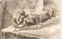 Vintage Santa Claus and Reindeer Illustration