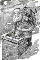 Vintage Black and White Santa