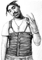2pac - tupac shakur drawing sketch art poster