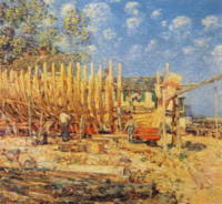 Painting of a Schooner being built in Provincetown