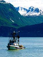 A fishing boat on Prince William Sound in Alaska